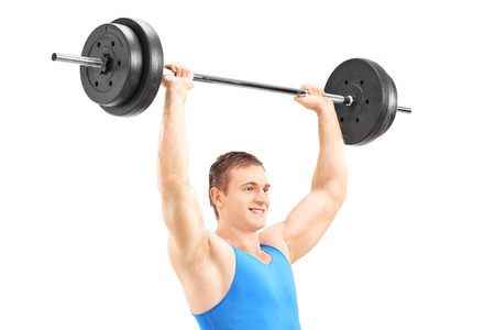 lunges: Hombre levantar una barra y haciendo estocadas aislados sobre fondo blanco Foto de archivo