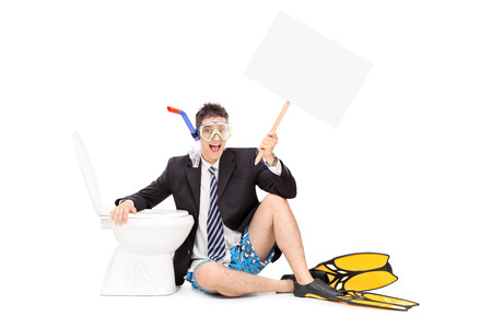 single fin: Man with snorkel holding a banner by a toilet isolated on white background
