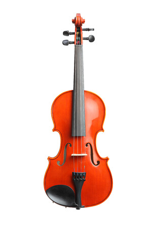 Studio shot of a brown wooden violin isolated on white background Stock Photo
