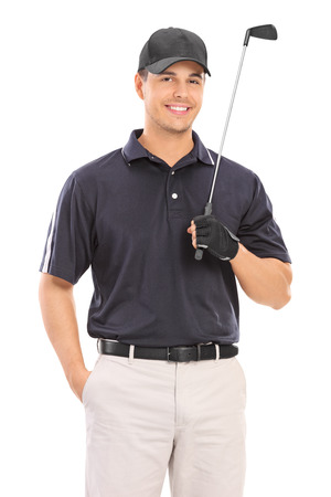 golfer: Young professional golfer posing isolated on white background