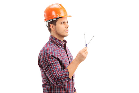 Male architect holding a drawing compass isolated on white background photo