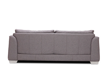 modern sofa: Rear view studio shot of a modern gray sofa isolated on white background