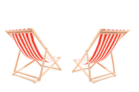 loungers: Studio shot of a two sun loungers isolated on white background Stock Photo