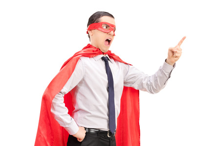 Angry superhero with mask and tie gesturing with his finger isolated on white background photo
