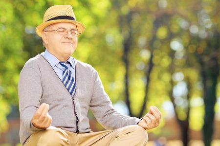 uomo felice: signore anziano seduto meditando su un prato verde in un parco durante l'autunno Archivio Fotografico