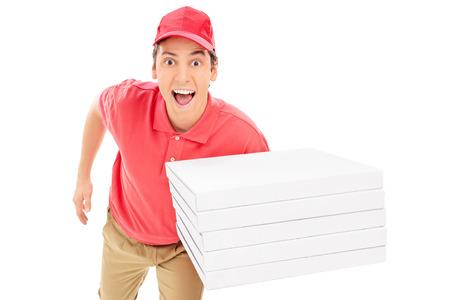 Fast pizza delivery guy running isolated on white background
