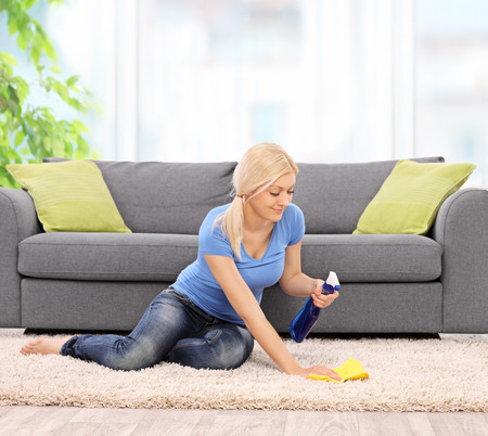 carpet clean: Young blond woman cleaning a carpet in front of a gray sofa with a rag at home shot with tilt and shift lens