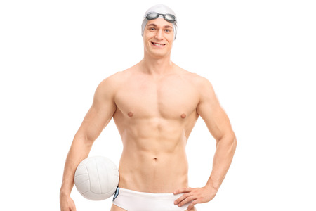 polo player: Young male water polo player holding a ball and looking at the camera isolated on white background Stock Photo