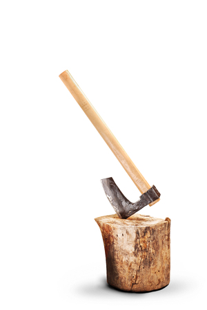 chop stick: A small axe inserted into a log isolated on white background