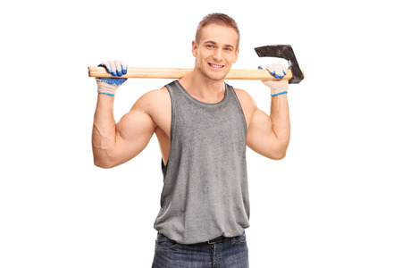 logger: Handsome young logger carrying an axe on his shoulders and looking at the camera isolated on white background Stock Photo