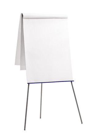 presentation board: Vertical shot of a presentation board with a blank paper on it isolated on white background