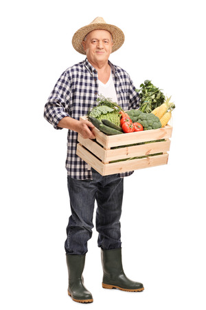 Full length portrait of a mature farmer carrying a wooden crate full of fresh vegetables and looking at the camera isolated on white background Stock Photo