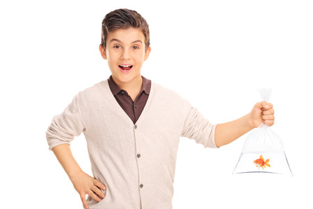 goldfish: Cheerful little boy holding a goldfish in a plastic bag isolated on white background