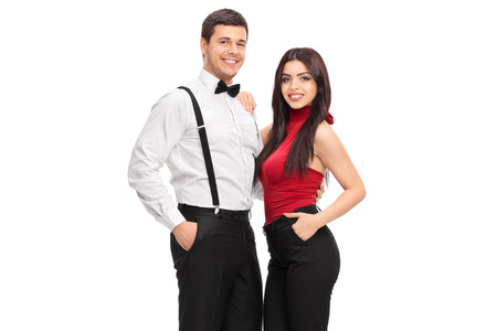 attractive male: Male and female fashion models posing isolated on white background Stock Photo