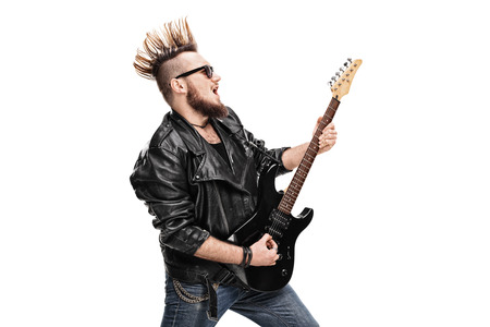 bad guy: Punk rock guitarist playing electric guitar isolated on white background