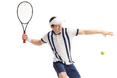 sportsmen: Young tennis player shot in the moment right before hitting a return isolated on white background Stock Photo