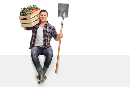 shoulder carrying: Young farmer carrying a crate full of vegetables on his shoulder and holding a shovel seated on a panel isolated on white background Stock Photo