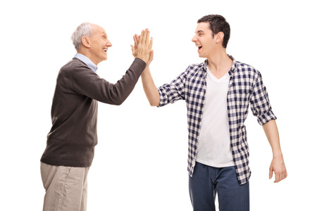 two men: Father and son high-five each other isolated on white background Stock Photo