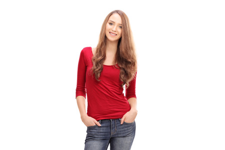 young women: Pretty woman in casual clothes isolated on white background