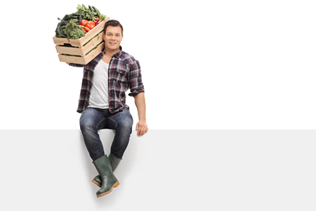 white people: Young farmer carrying a crate full of vegetables on his shoulder seated on a blank panel isolated on white background