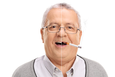 senior smoking: Before and after smoking photo of a cheerful senior man isolated on white background
