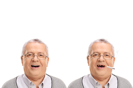 bad teeth: Before and after photo of an elderly man showing the harmful effetcs of smoking isolated on white background