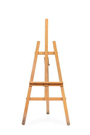 Vertical studio shot of an empty wooden painting easel isolated on white background