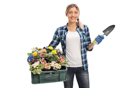 Weibliche Gärtner ein Gestell von Blumen halten und einen Spaten isoliert auf weißem Hintergrund