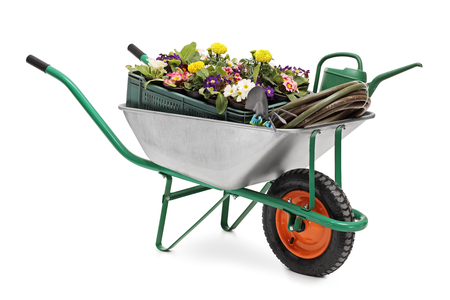 barrow: Studio shot of a wheelbarrow full of gardening equipment and flowers isolated on white background