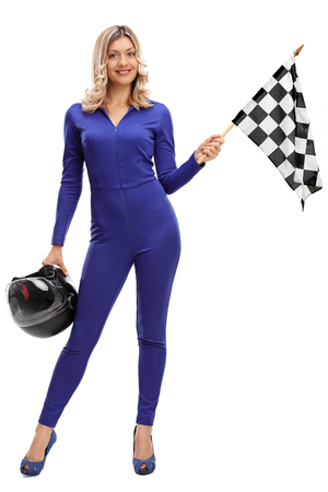 racer flag: Full length portrait of a racing woman holding a checkered race flag and a helmet isolated on white background
