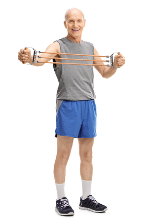 senior exercising: Full length portrait of an active senior exercising with a resistance band isolated on white background Stock Photo