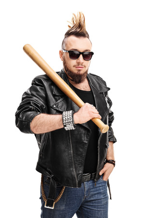 delinquent: Vertical shot of a punk with Mohawk hairstyle holding a baseball bat isolated on white background