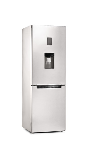 vertical fridge: Vertical shot of a closed refrigerator isolated on white background Stock Photo