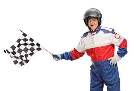 racer flag: Mature race driver waving a checkered flag isolated on white background
