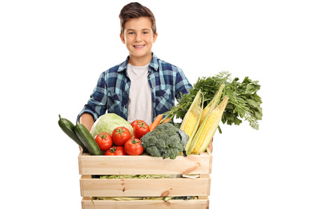 Joyful kid holding a wooden crate full of groceries isolated on white background