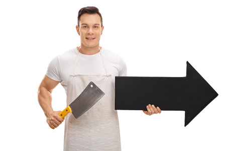Butcher holding a cleaver and an arrow pointing right isolated on white background