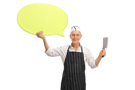 expressing: Elderly butcher holding a speech bubble and a cleaver isolated on white background