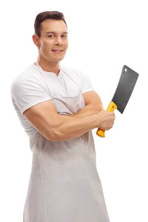cleaver: Smiling butcher posing with a cleaver isolated on white background