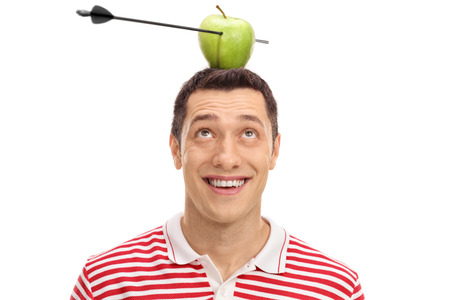 Terrified man looking at an apple pierced by an arrow on his head isolated on white background