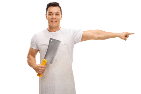 hatchet man: Butcher holding a cleaver and pointing right isolated on white background