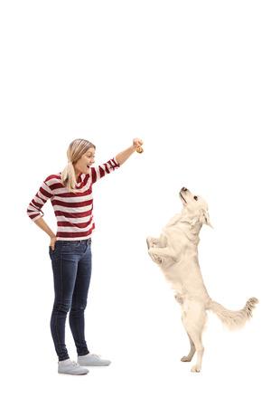 persona saltando: Plano general Perfil de cuerpo de una mujer joven que da una galleta a su perro aislado en el fondo blanco Foto de archivo