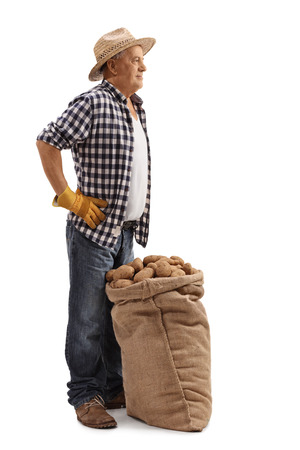 full shot: Full length profile shot of a mature farmer posing with a burlap sack full of potatoes isolated on white background
