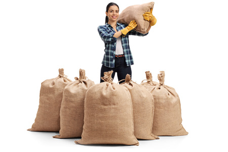 sackful: Female agricultural worker standing behind burlap sacks and holding a sack on her shoulder isolated on white background
