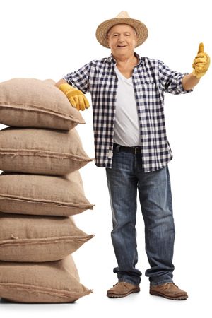 Full length portrait of a mature farmer leaning on a stack of burlap sacks and giving a thumb up isolated on white background