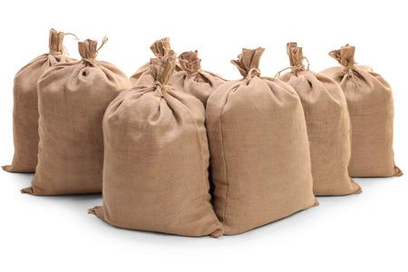 sackful: Burlap sacks isolated on white background