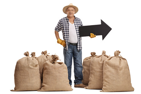 sackful: Full length portrait of an elderly farmer standing between burlap sacks and holding an arrow pointing right isolated on white background Stock Photo