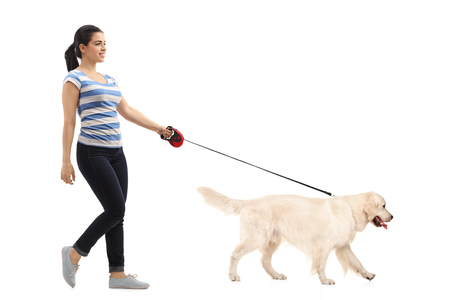 Full length profile shot of woman walking her dog isolated on white background 스톡 콘텐츠