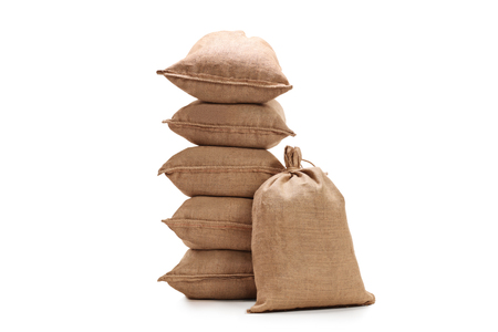 coffee sack: Burlap sacks isolated on white background