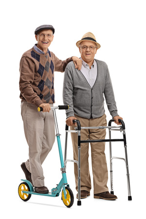 cuerpo hombre: Full length portrait of a senior with a scooter and a senior with a walker isolated on white background
