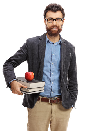 Portrait of a male teacher isolated on white background